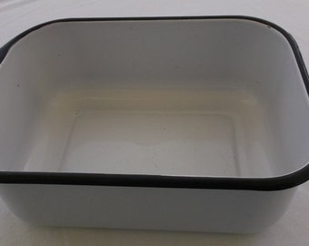 Vintage Enamelware Pan, White with Black Edge Rectangular Refrigerator Dish