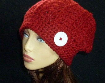Slouch Hat, Slouchy, Slouch Beanie, Fall Fashion, Crochet Beanie, Crochet Slouch Hat - Maroon with Pin