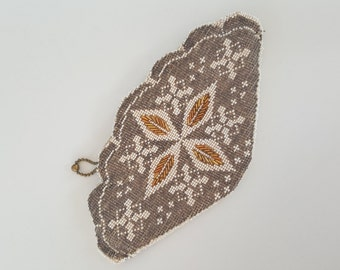 Vintage Gold Glass Beaded Clutch Coin Purse Pouch