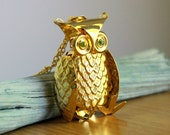 Athena Owl Necklace - Vintage Large Wiggly Owl Pendant - Unusual Big Derpy Jointed Articulated Bird