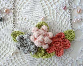 Crochet Flower Necklace #3 crochet necklace,flower necklace,mori necklace, romantic, bohemian,shabby chic,