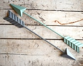 Gray Tribal Wall Art,  Metal Arrow, Green Arrow, Gray Metal arrow,  Hunting Decor, Rustic Home decor, Tribal Decor, Arrow