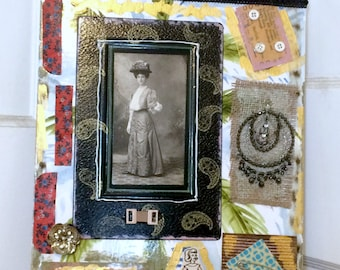Original Mixed Media Artwork, Vintage Photograph Collage, Black and White Photo Art, Vintage Jewelry Assemblage Artwork, 11 x 14 inches