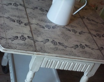 Sold Sold --- Distressed Shabby Chic Dining/Hall/Living Room Drop Leaf Table Paris and Cherubs