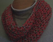 Ohio State Scarf Infinity Buckeyes Cowl Scarlet and Gray White Handmade