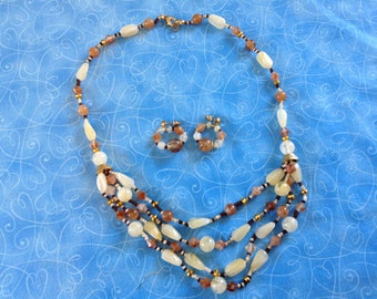 Vintage Beaded Necklace and Earrings, various brown beads, matching earrings