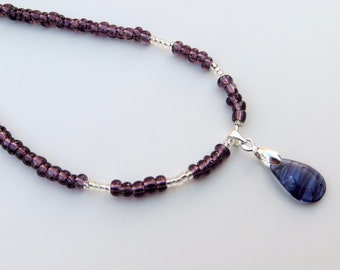 Moonless Night purple glass drop bead necklace