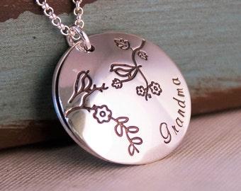 Hand Stamped Grandma Necklace Locket / Sterling Silver Personalized Custom Jewelry / Grandma we love you locket with birthstones