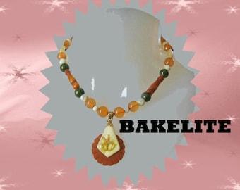 Bakelite Summer Necklace with Starfish-Embedded Lucite - Made with Vintage Bakelite & Vintage Lucite - OOAK