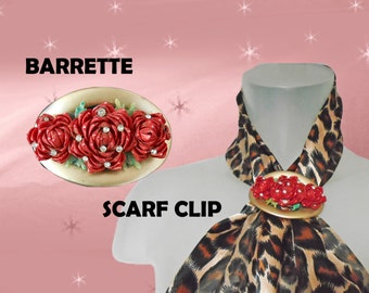 Red Rose Barrette OOAK Made with Tiny 1940s Vintage Seashells - Scarf Clip - Holiday Sparkle