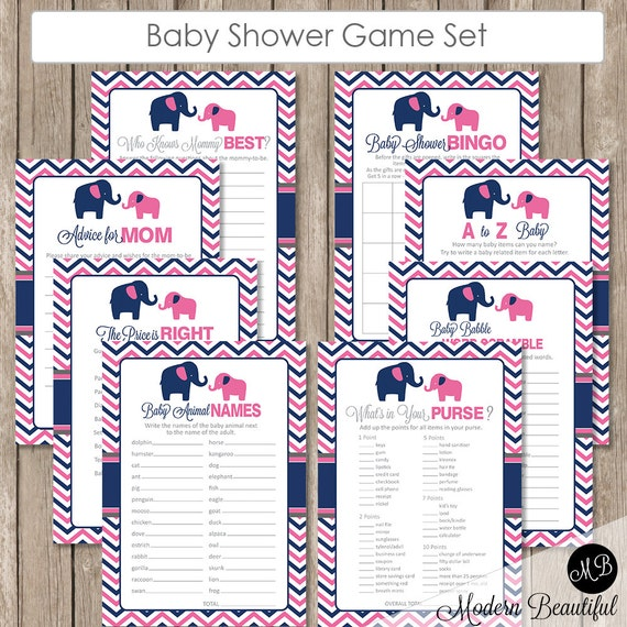baby shower game pack twins pink and navy elephant baby shower