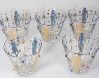 "Culver Mardi Gras Jester Barware Five (5) DOF 3.5"" Beaded Harlequin Glasses 22K Gold 1960s Vintage Jewelled Gem  Mid Century Bar Glass"