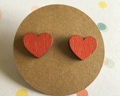 Red Heart Earrings, Wood Earrings, titanium earrings, nickel free post