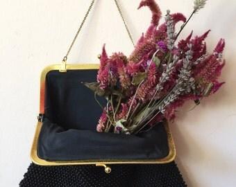 Vintage beaded black clutch Evening Bag