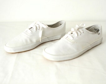 90s WHITE ked style PREPPY oxford flats size 8 womens