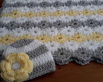 Baby Girl Lacy Granny Square Baby Crochet Blanket Afghan