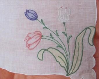 Large Vintage Solid White Linen Applique Hankie