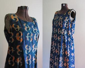 Vintage 1990s Batik Dyed Maxi Dress. Indigo Pink Cotton Batik Sleeveless Maxi Dress. Size Large XL