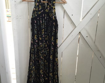 Gorgeous bohemian vintage long floral halter dress s