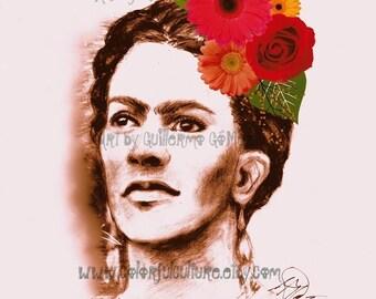"Con la Mirada en Alto"" - Frida Kahlo Portrait- Art Print by Guillermo Gomez - Achival Acid Free Paper - Mexican Art - Folk Art"