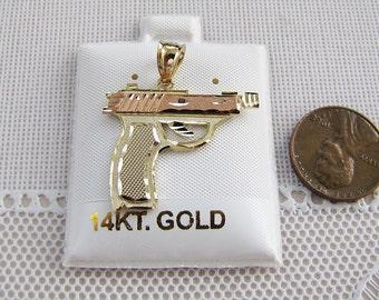 Solid 14K Gold Hand Gun Pendant, 14kt gold pendant, Black Hills Gold, rapper jewelry