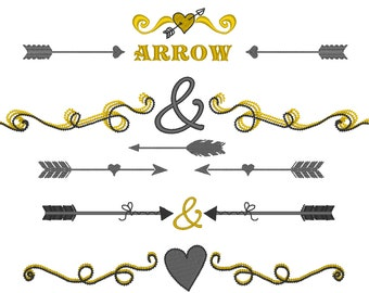 Arrows wedding Split and mini font Set - 2, 3, 4 and 5 inches - embroidery designs INSTANT DOWNLOAD