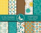 50% Off In My Garden Paper Pack - 10 printable Digital Scrapbooking papers - 12 x12 - 300 DPI