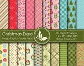 50% Off Christmas Days Mega Paper Pack - 20 Printable Digital papers - 12 x12 - 300 DPI