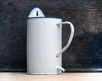 Circa 1920 , french white enamel pot, enamelware, shabby chic white