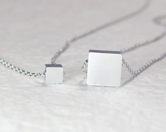 Silver Square double layering Necklace - S2084-3 - Layered necklace