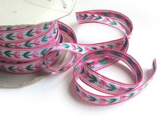 Vintage French Trim, Pink Embroidered Trim, Flower Trim by Yard