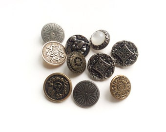 10 Metal Buttons, Assorted Gold & Silver Metal Buttons