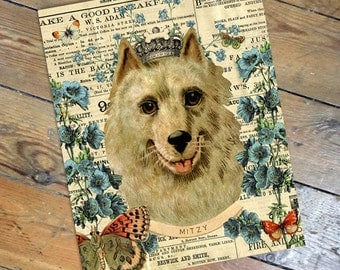Mitzy - Vintage Style Personalized Pomeranian Antique Ephemera Print from Curious London