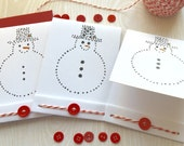 Hand Painted - 6 Card Set - Matchbook Style - Christmas - Holiday - Snowman Note Cards - Eco -Friendly - Hand Stitched - Custom Cards