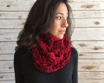 Red Shades Hand Dyed Merino Wool Infinity Scarf, Red Circle Scarf, Textured Infinity Scarf,