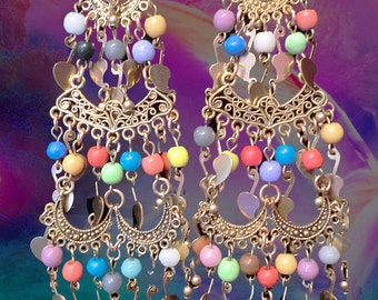 Long Tiered Bohemian Dangle Charm Paisley Earrings, Antique Gold Colorful Indian Chandelier Earrings, Bohemian Gypsy Jewelry, Belly Dancer