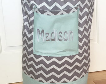 Monogrammed Laundry Duffel Bag, Teal, Grey and White Chevron, Laundry Bag, Laundry Bag for College, Hanging Laundry Bag, Laundry Hamper