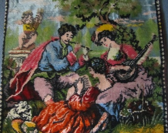 Vintge Tapestry Pillow Cover Musicians and Cherub