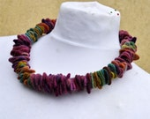Felted necklace, fibre art, gift, purple, green, felted slices