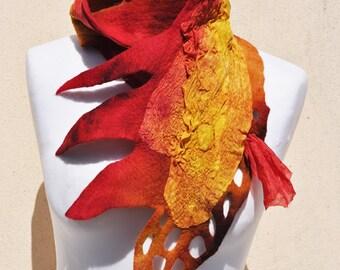 Beautiful scarf, nuno felted scarf, silk, wool, nuno, felted, gift, fibre art, yellow, brown, red