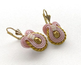 Pink Earrings Pink and Gold Earrings Pink Drop Earrings Rose Pink Earrings Small Dangle Earrings Soutache Earrings Romantic Earrings