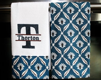 Monogrammed Kitchen Towels or Hand Towels in Teal Blue | Housewarming Gift | Hostess Gift | Gifts for Her | Wedding