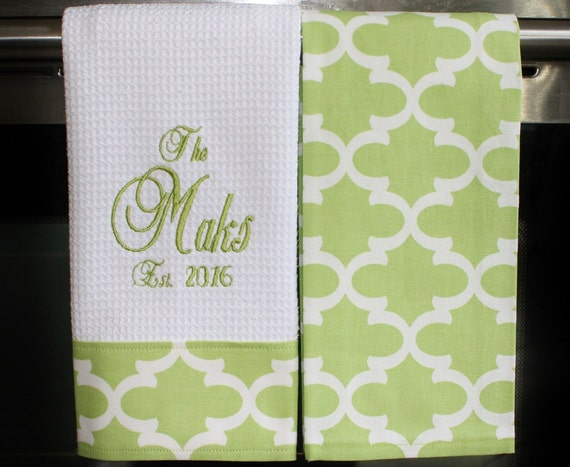 Monogram Kitchen Towels Or Hand Towels In Kiwi By Designsbythem