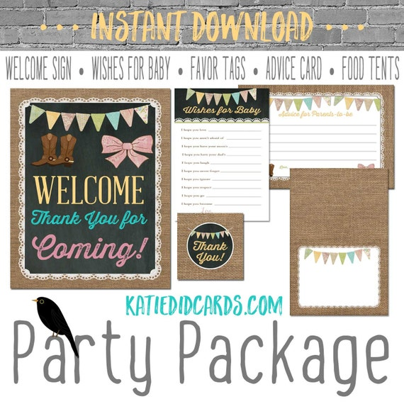 Boots or Bows gender reveal 1410 package AS IS Instant Download Welcome sign wishes for baby favor tag tent advice card burlap chalkboard