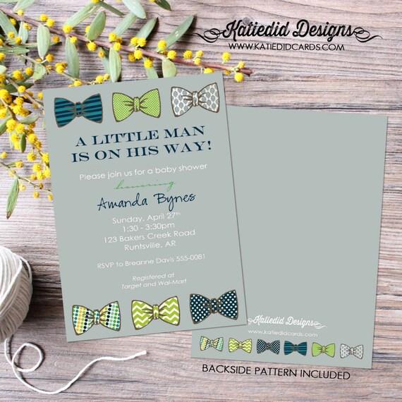 bow tie baby shower invitation little gentleman baby boy shower baptism christening couples shower bash (item 1201) shabby chic invitations