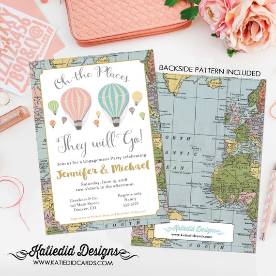 oh the places you will go couples bridal shower engagement rehearsal wedding invitation map baby twins birthday baptism graduation world 365