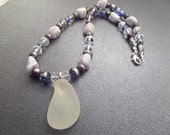 Scottish Sea Glass Beaded Necklace with White Beachglass Pendant, Blue Geodes and Grey Pearls