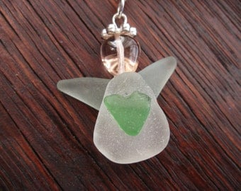 Scottish Sea Glass Angel Necklace, Guardian Angel Necklace, Angel Jewelry, Pink and Green, Sea Glass Jewelry, Necklace From Scotland, Beach