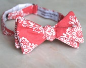 Bow Tie in Pink Coral Damask - clip on, pre-tied with strap or self tying - wedding attire, ring bearer outfit, groomsmen gifts