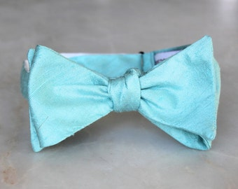 Aquamarine Ocean Blue Bow Tie - Groomsmen and wedding tie - clip on, pre-tied with strap or self tying